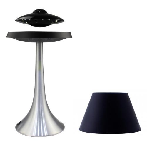 Enceinte en lévitation UFOSOUND Noire + lampe Pureline Noire Pied Alu