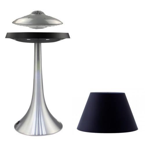 Enceinte en lévitation UFOSOUND Silver + lampe ALTHURIA Noire Pied Alu